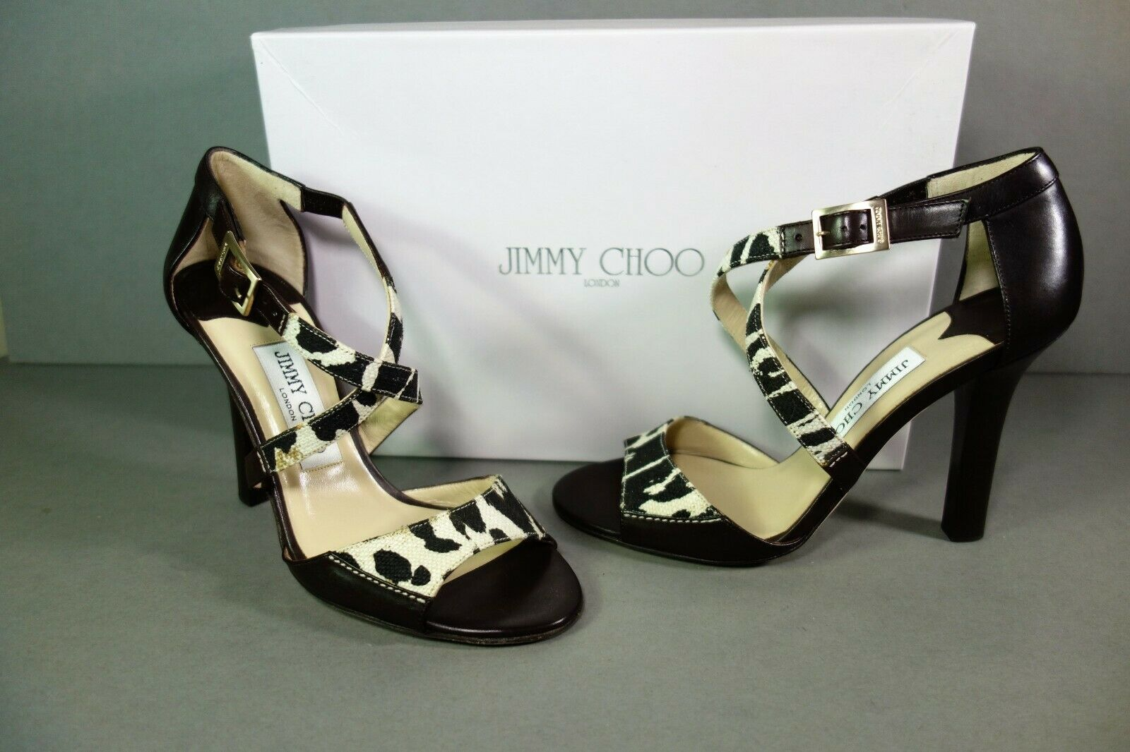 Jimmy Choo 36 Pioneer Leopard Print Canvas Dark Brown Leather Sandals Shoes NEW image 3