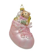 Teddy Bear in Pink Boot Baby's First Christmas Ornament 3.25 Inches - $24.60