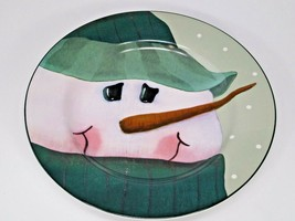 Sakura Snowmen Portraits Fiddlestix Stoneware Salad Dessert Christmas Plate - $9.89
