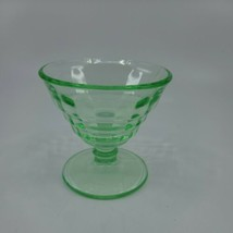 "Anchor Hocking Block Optic Green Depression Glass Champagne Tall Sherbet 3.25""  - $10.99"