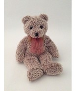 """TY Classic frosted brown JAVA THE SPARKLY TEDDY BEAR W/ RED BOW 13"""" plus... - $6.79"""