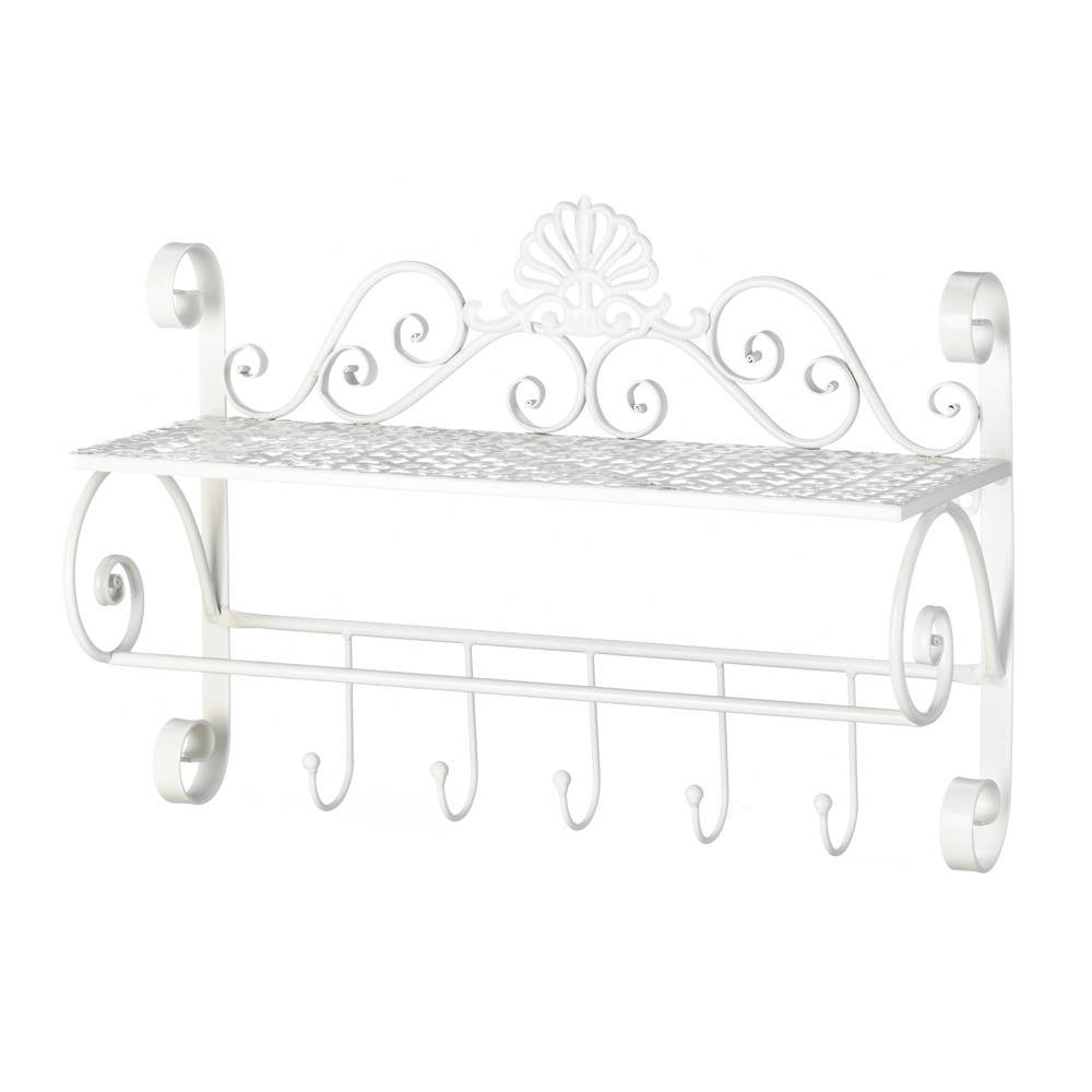 Decorative Wall Shelf, Flourish Kitchen Storage Wall Shelf Displaywith Hooks