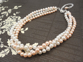 Very Elegant Three Strand Choker Style Necklace with White and Blush Pea... - $43.00