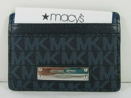 Michael Kors Money Pieces New Admiral Blue Signature Leather Card Holder - $38.60