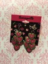 Authentic Betsey Johnson Betseyville heart drop earrings New - $12.19