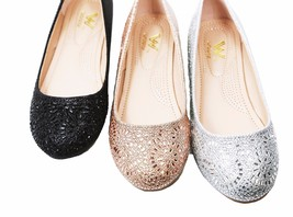 New Women's Glitter Rhinestone Ballerina Ballet Flats 6 - 10 Black Silve... - $17.99