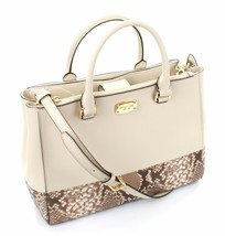 Michael Kors Satchel Bag Cream & Dark Sand Leather Snakeskin Embossed Ke... - $295.85