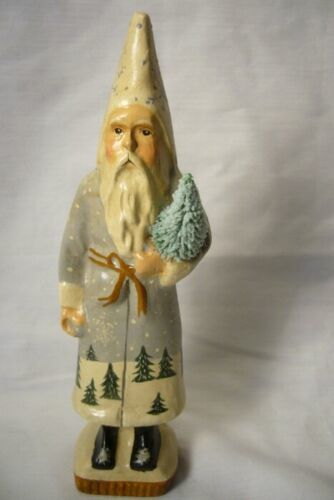 Vaillancourt Folk Art Skinny Wintry Santa with Tree singed by Judi