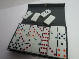 Set Of 28 Double Six Dominoes With Gray Vinyl Case - $10.00