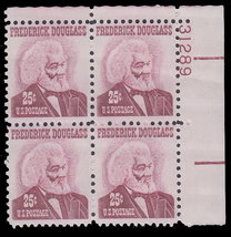 1973 Frederick Douglass Plate Block of 4 US Postage Stamps Catalog 1290a MNH