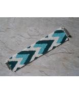 Bracelet: Turquoise / Teal / White Chevron Design, Peyote Stitch, Tube C... - $49.00