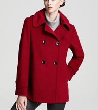 Calvin Klein Women's sz 10 Double Breasted Hooded Pea Coat Jacket Red Wo... - $129.95