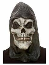 Adult Hooded Skeleton Latex Fancy Dress Mask White Halloween Trick or Treat Fun - $20.92