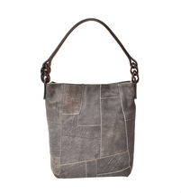 Women's Leather Patchwork Boho Chic Purse Quilted Lined Transport Tote Handbag image 4