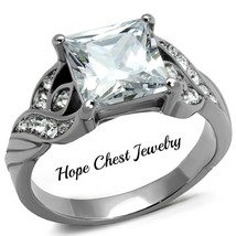 HCJ WOMEN'S STAINLESS STEEL 2.9 CARAT PRINCESS CUT ENGAGEMENT RING SIZE ... - $12.59