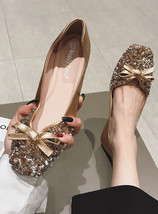 Sequin Champagne Ballet Flats Slippers Shoes Crystals Evening Women Brid... - £39.12 GBP