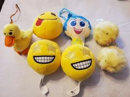 Lot of 7 Plush Toys Emoji Disney Pixar Inside Out Joy Dan Dee Ty Chicken Duck - $15.93