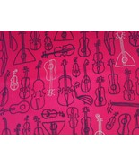 1/2 yd Music/string instruments on red quilt fabric -free shipping - $9.99