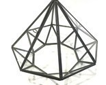 "Glass & Metal Terrarium Pyramid Shaped Octagon With Door 6"" x 7"" Fairy Garden"