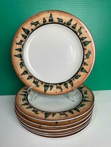 Set of 7 David Carter Brown Sakura LOG CABIN Moose Bear Dinner Plates 10... - $79.19