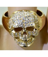 Imperial Russian Memento Mori Masonic Skull 14k gold,1.5ct Diamonds mens... - $6,500.00
