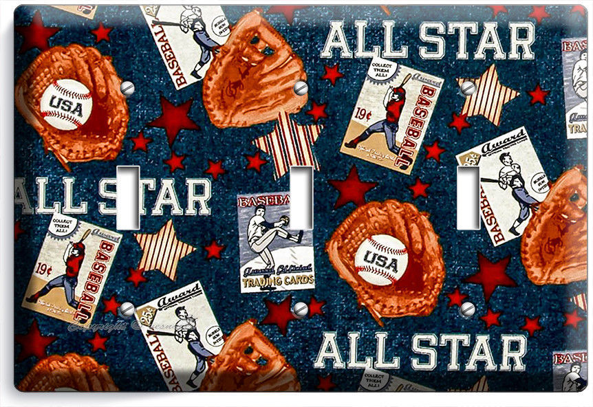 Primary image for BASEBALL VINTAGE ALL STAR TRIPLE LIGHT SWITCH POWER WALL PLATE COVER ROOM DECOR