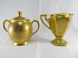 Antique rare porcelain gold gilt Limoges France Pickard sugar creamer - $120.00