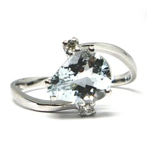 18K WHITE GOLD BAND RING AQUAMARINE 1.60 DROP CUT & DIAMONDS, MADE IN ITALY image 1