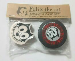 Eraser & Case Set Felix the cat 1985 SANRIO Rare Old Vintage - $25.90