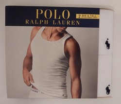 2 POLO RALPH LAUREN MENS 2XL 3XL 4XL COTTON WHITE TANK TOP T-SHIRTS UNDE... - $38.90