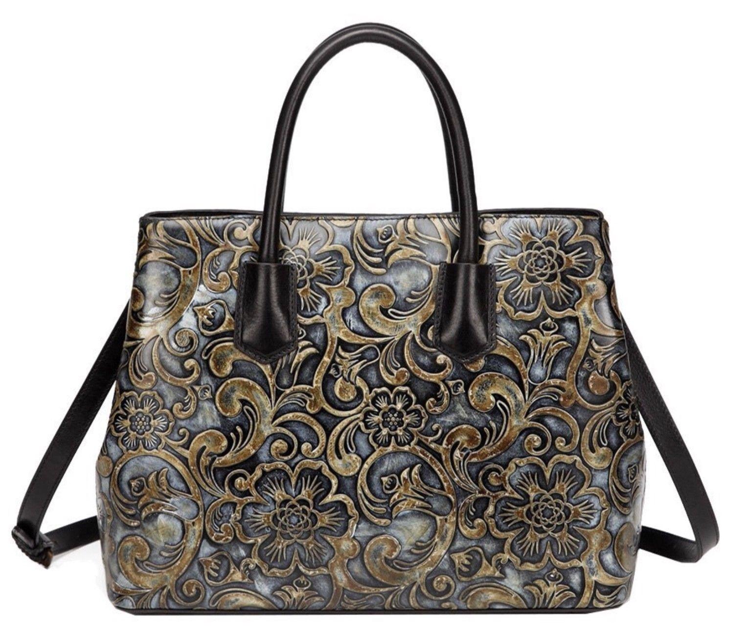 Floral Embossed Italian Leather Tote Satchel Handbag Shoulder Bag Free Wallet