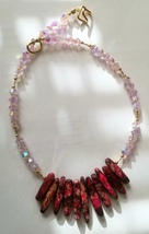 Pink Crystal with Red Sea Sediment Jasper Collar Pendant Handmade Artisan - $25.00