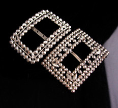 Antique French Cut Steel Buckles - Large silver victorian buckle  Marcas... - $225.00