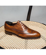 Handmade Brown Color Leather Wing Tip Brogue Shoes, Men's Lace up Dress ... - $159.97+
