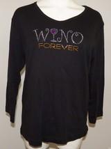 NWT Wino Forever Black Shirt 3/4 Sleeve Women's Size Large Rhinestones Wine - $17.37