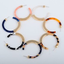 Acrylic Hoop Earrings Print Hoops Fashion Bohemia Jewelry For Women  - $5.91