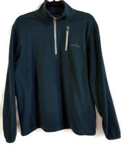 Eddie Bauer mens dark green 1/4 zip pullover fleece jacket outerwear size M - $17.81