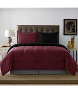 Sega Home Solid Reversible 2pc Comforter Set, Twin/ Twin XL, Burgundy/Blk - $37.62