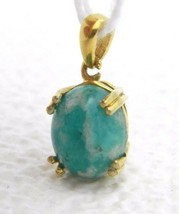 VTG .925 Sterling Silver Gold Vermeil Green Blue Stone Necklace Pendant - $29.70