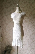 Ivory White Fitted Lace Midi Length Skirt High Low Mermaid Skirt Plus Size  image 1