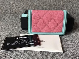 NEW AUTH CHANEL 2019 QUILTED CAVIAR MULTI COLOR ZIP AROUND WALLET  image 2
