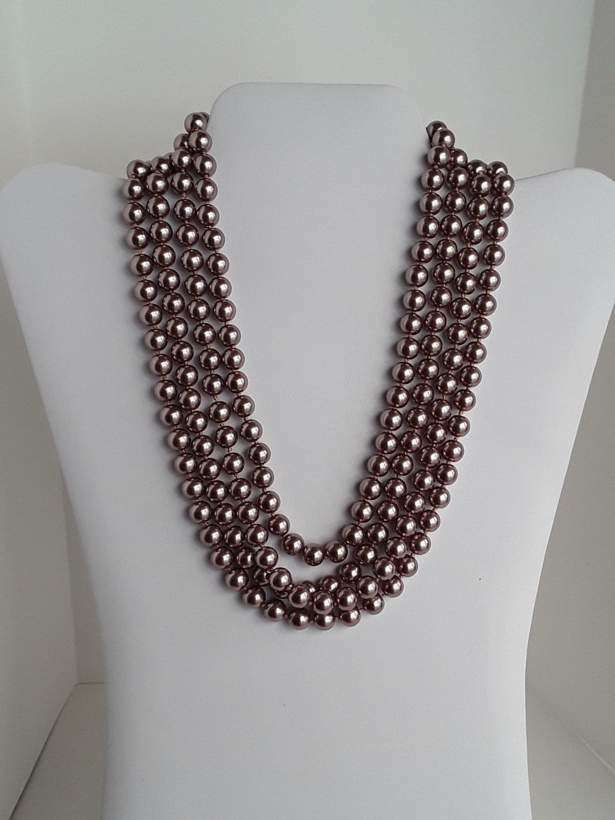 """COOKIE LEE Rose Gold Tone Faux Pearls Single Strand 76"""" Long Necklace EUC"""