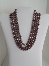 "COOKIE LEE Rose Gold Tone Faux Pearls Single Strand 76"" Long Necklace EUC - $23.36"