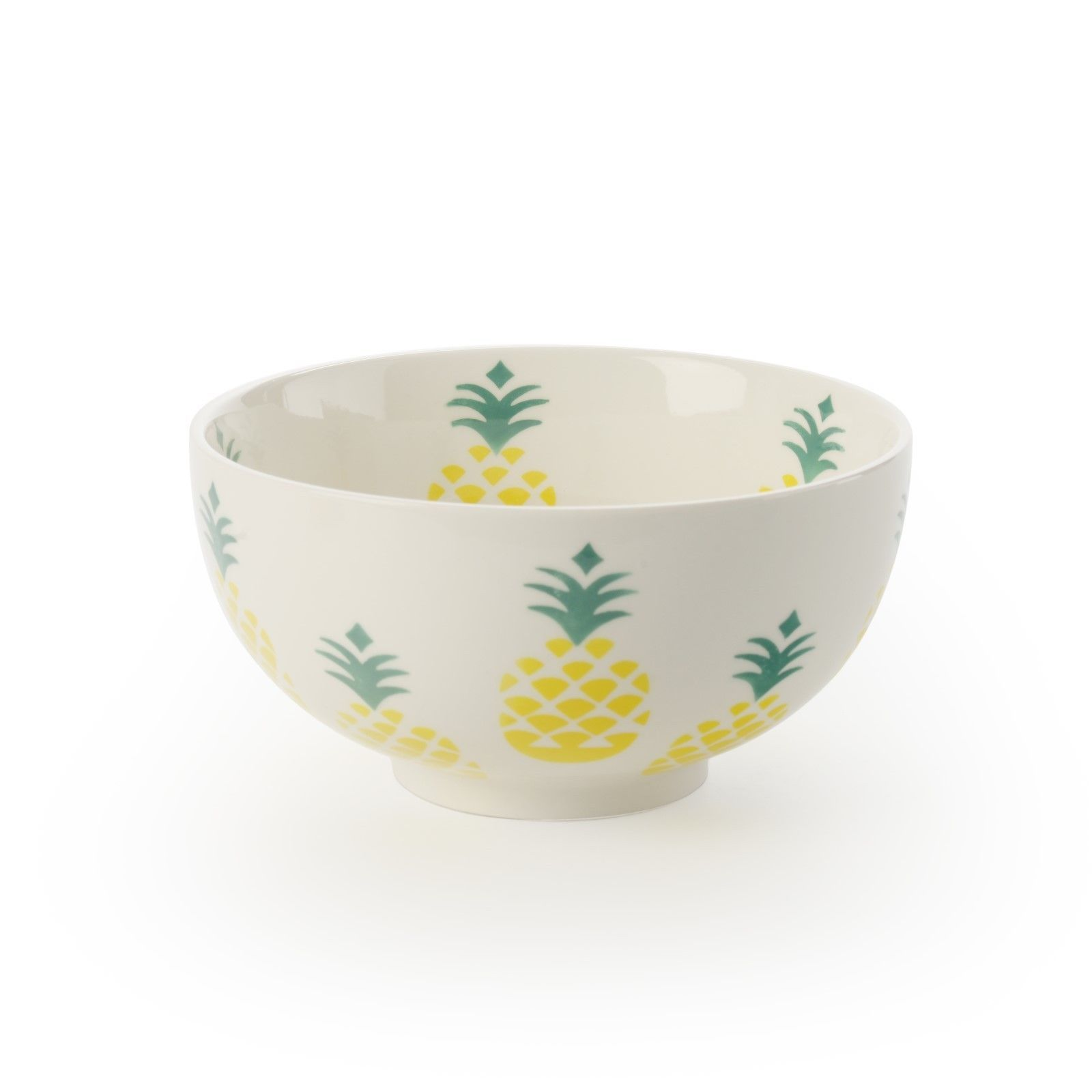 "Yellow Pineapple 6"" Snack, Fruit or Rice Bowls Set of 4 by Signature Housewares"