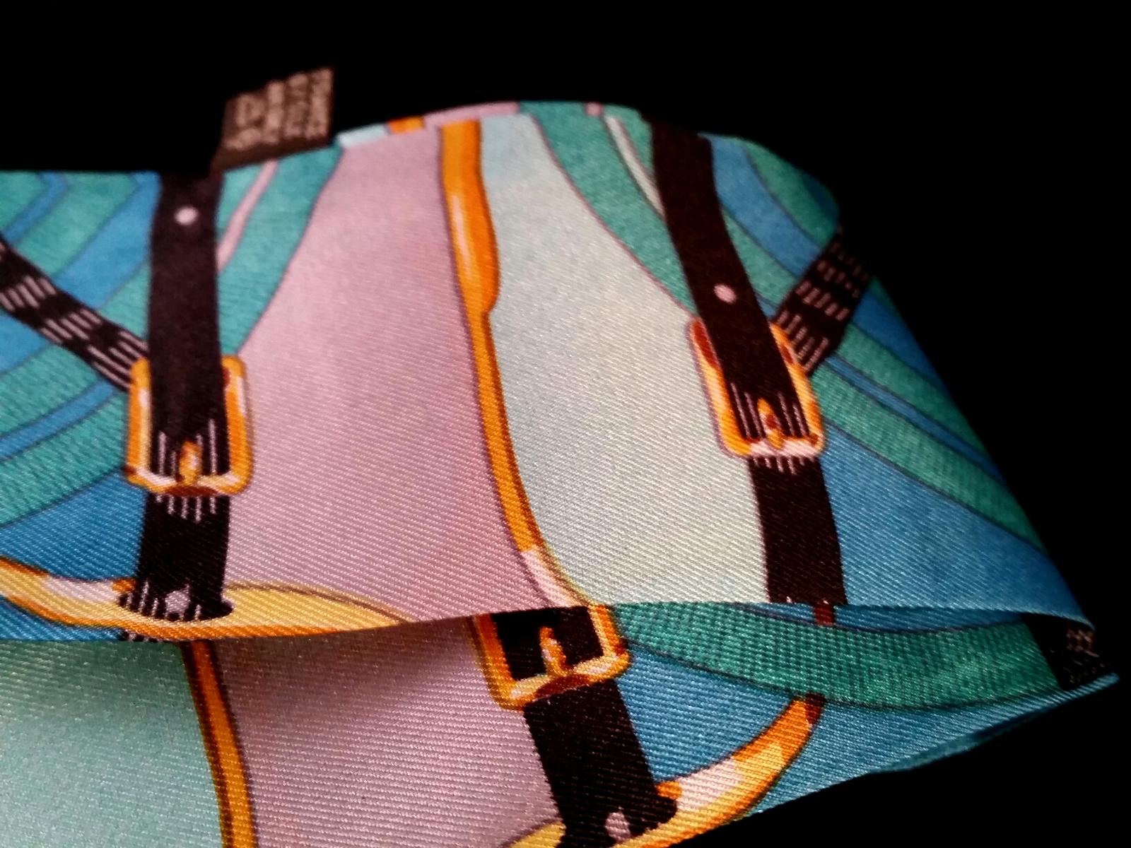 St. Germain Twilly Scarf Blues Greens Horse Buckle Purse Twill Weave Luxury