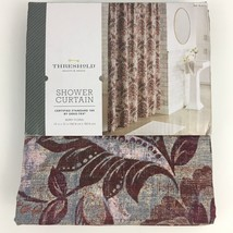 Threshold Berry Floral Shower Curtain New 100% Cotton Purple Wine Tone 7... - $21.00
