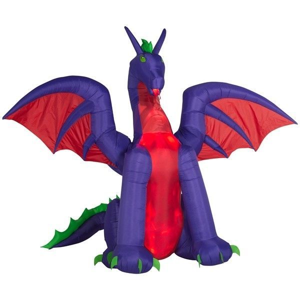Halloween ANIMATED PROJECTION™ AIRBLOWN® INFLATABLE FIRE & ICE  DRAGON  11' Wide