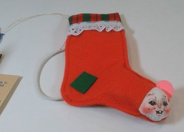 "Vtg Annalee Mobilitee Squeak-A-Boo Mouse Mini Stocking 6"" with Tags 1998 USA - $18.32"