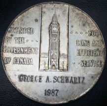 1987 CANADA LONG & EFFICIENT SERVICE AWARD MEDAL - 106g OF 925 SILVER - ... - $58.58