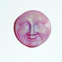 Red & Luna Matte Czech Glass Shank Moon Face Button 18mm - Red & Luna Matte - $6.43